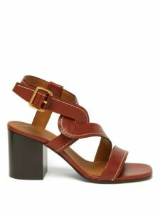 Chloé - Candice Block-heel Leather Sandals - Womens - Tan