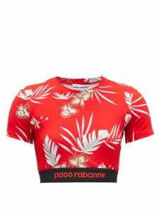 Paco Rabanne - Hawaiian-print Jersey Cropped Top - Womens - Red Print