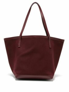 The Row - Park Canvas And Leather Tote Bag - Womens - Dark Red