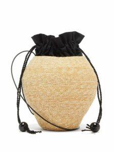 Eliurpi - Drawstring-pouch Mini Straw Shoulder Bag - Womens - Beige