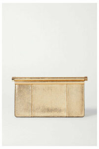 Valentino - Carry Secrets Metallic Snake-effect Leather Clutch - Gold