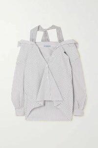 Prada - Cold-shoulder Striped Cotton-blend Poplin Shirt - Blue