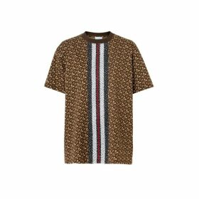 Burberry Monogram Stripe Print Cotton Oversized T-shirt