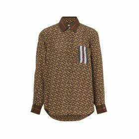 Burberry Monogram Stripe Print Silk Oversized Shirt