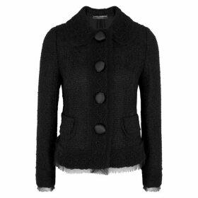 Dolce & Gabbana Black Floral-appliquéd Tweed Jacket