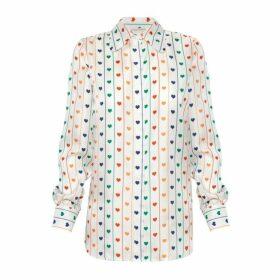 Lisou Bailey Rainbow Heart Print Silk Shirt