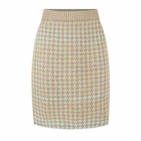 STUDIO MYR - Knitted Knee Length Pencil Skirt In Pieds-De-Poule Pattern Tweed-Fair