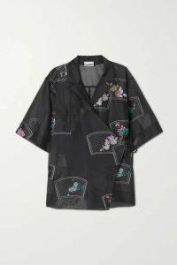 GANNI - Floral-print Organza Wrap Shirt - Black