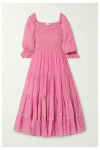LoveShackFancy - Rigby Shirred Floral-print Cotton-gauze Midi Dress - Bright pink