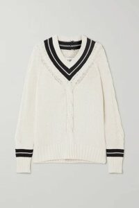 RE/DONE - 90s Two-tone Cable-knit Cotton-blend Sweater - White