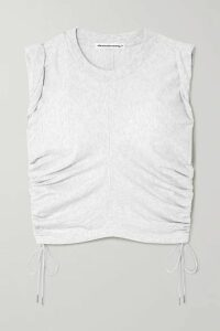 alexanderwang.t - Wash And Go Cropped Ruched Cotton-jersey Tank - Light gray