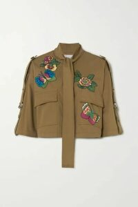 REDValentino - Cropped Pussy-bow Embroidered Cotton-gabardine Jacket - Army green