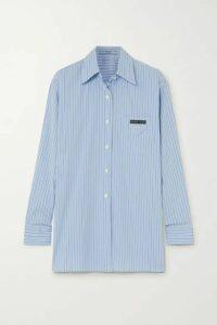 Prada - Oversized Striped Cotton-blend Poplin Shirt - Blue