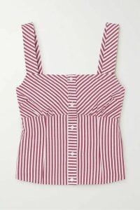 Maje - Striped Cotton-poplin Top - Red