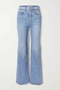 GRLFRND - Carla Frayed High-rise Wide-leg Jeans - Mid denim