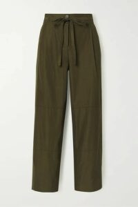 Jason Wu - Belted Cropped Woven Wide-leg Pants - Army green