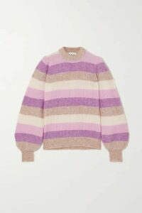 GANNI - Striped Ribbed-knit Sweater - Violet