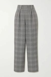 GANNI - Prince Of Wales Checked Woven Wide-leg Pants - Light gray