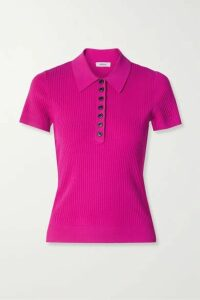 Jason Wu - Ribbed-knit Polo Shirt - Magenta