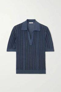 Chloé - Cable-knit Silk Polo Shirt - Blue
