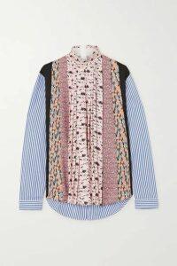 Prada - Paneled Striped Poplin And Floral-print Crepe Blouse - Pink