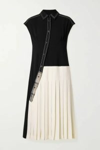Andersson Bell - Paneled Jersey And Pleated Twill Midi Dress - Black