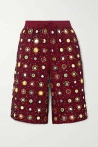 Ashish - Cosmic Sheesha Embellished Cotton Shorts - Red