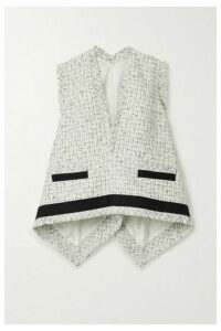 Sacai - Draped Cotton-trimmed Frayed Tweed Top - White