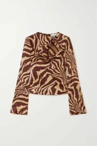 GANNI - Cutout Ruched Zebra-print Stretch-silk Satin Top - Zebra print