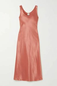 Max Mara - Leisure Talete Satin Midi Dress - Coral