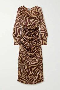 GANNI - Ruched Zebra-print Stretch-silk Satin Midi Dress - Zebra print