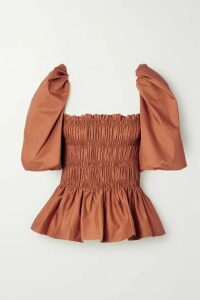 Johanna Ortiz - Artistic Senses Smocked Stretch-cotton Poplin Peplum Top - Tan