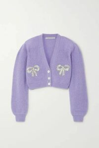 Alessandra Rich - Sequin-embellished Mohair-blend Cardigan - Lilac