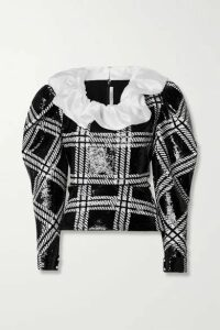 Rodarte - Silk-organza Trimmed Checked Sequined Stretch-knit Blouse - Black