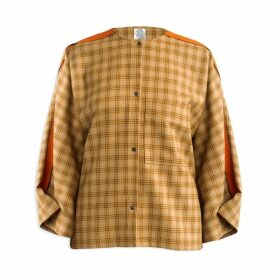 Cleo Prickett - Workwear Shirt In Mustard Plaid Soft Touch 100% Wool & Contoured Orange Stripe