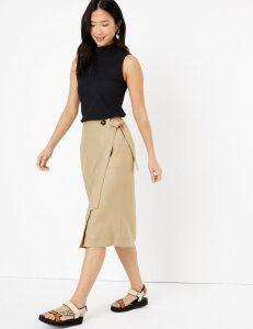 M&S Collection Linen Rich Wrap Skirt