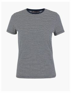 M&S Collection Cotton Rich Striped Fitted T-Shirt