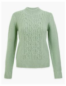 M&S Collection Cotton Rich Cable Knit Relaxed Fit Jumper