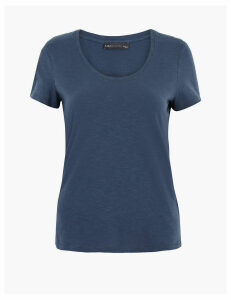 M&S Collection Pure Cotton Scoop Neck Regular Fit T-Shirt