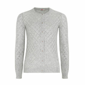 Grey Pointelle Stitch Cardigan
