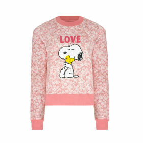Snoopy Love Paper Ditsy Cropped Sweatshirt