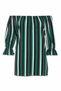 Green And Black Stripe Bardot Top