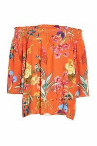 Orange And Yellow Floral Bardot Top