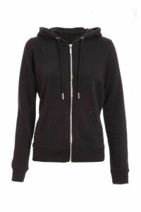 Black Zip Front Hooded Jumper