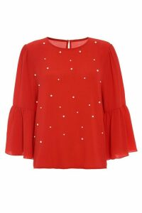 Red Crepe Pearl Frill 3/4 Sleeve Top