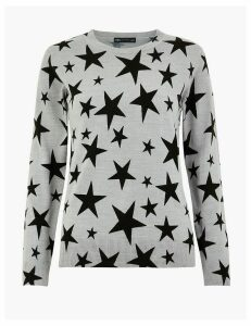 M&S Collection Star Print Round Neck Jumper
