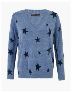 M&S Collection Pure Cotton Star Print V-Neck Jumper