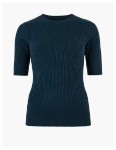 M&S Collection Ribbed Crew Neck Fitted Short Sleeve Jumper