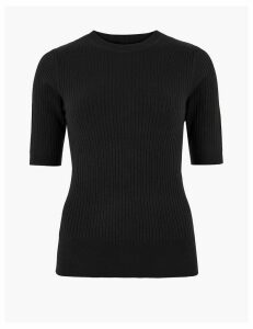 M&S Collection Ribbed Crew Neck Jumper