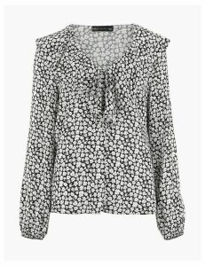 M&S Collection Floral V-Neck Blouson Sleeve Blouse